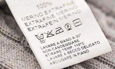 Wäschesymbole auf einem Wäscheetikett